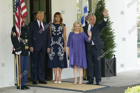 Stock Image of US President Donald J. Trump and first lady Melania Trump welcome Israeli Prime Minister Benjamin Netanyahu, and his wife Sara, to the White House in Washington, DC, USA, 15 September 2020. The Israel-United Arab Emirates normalization agreement, also known as the Abraham Accords, will be signed at the White House later in the day.