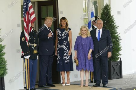 US President Donald J. Trump and first lady Melania Trump welcome Israeli Prime Minister Benjamin Netanyahu, and his wife Sara, to the White House in Washington, DC, USA, 15 September 2020. The Israel-United Arab Emirates normalization agreement, also known as the Abraham Accords, will be signed at the White House later in the day.