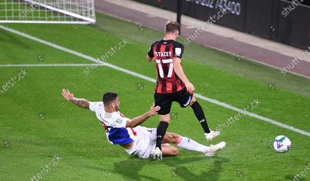 James Tomkins of Crystal Palace tackles Jack Stacey of Bournemouth; Vitality Stadium, Bournemouth, Dorset, England; English Football League Cup, Carabao Cup Football, Bournemouth Athletic versus Crystal Palace.