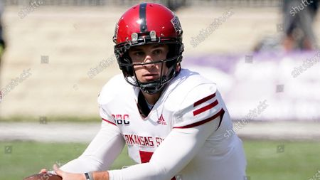 Arkansas State quarterback Layne Hatcher prepares to pass the ball to wide receiver Jonathan Adams Jr. to score the winning touchdown during the second half of an NCAA college football game against Kansas State, in Manhattan, Kan