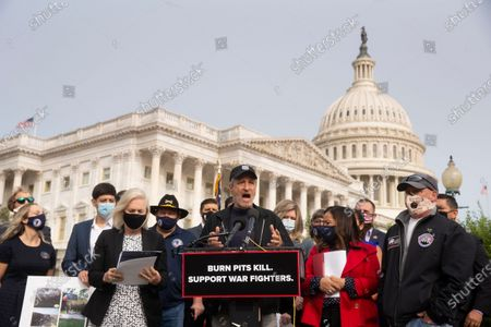 Former host of 'The Daily Show' Jon Stewart (C) speaks at an event held to introduce legislation that would assist US veterans that have been exposed to burn pits, on Capitol Hill in Washington, DC, USA, 15 September 2020.