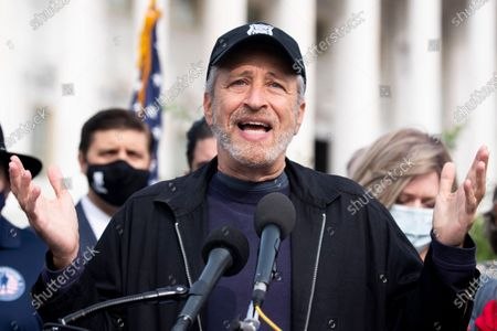 Former host of 'The Daily Show' Jon Stewart speaks at an event held to introduce legislation that would assist US veterans that have been exposed to burn pits, on Capitol Hill in Washington, DC, USA, 15 September 2020.