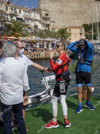 HSH Prince Albert II of Monaco, Princess Charlene of Monaco and Gareth Wittstock at the departure of 'The Crossing Calvi Monaco Water Bike Challenge'