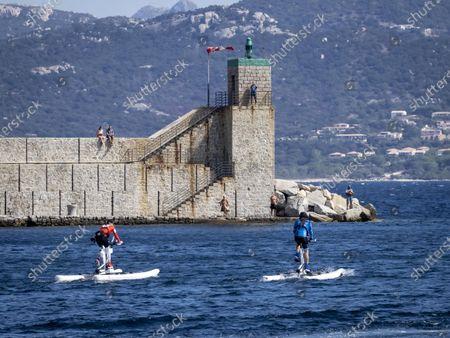 Stock Image of Gareth Wittstock and Princess Charlene of Monaco at the departure of 'The Crossing Calvi Monaco Water Bike Challenge'