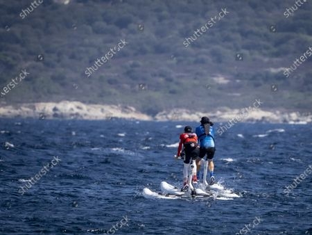 Gareth Wittstock and Princess Charlene of Monaco at the departure of 'The Crossing Calvi Monaco Water Bike Challenge'