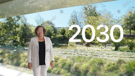 Handout video still image released by Apple showing Apple's vice president of Environment, Policy and Social Initiatives Lisa Jackson discussing how Apple will make all of its products carbon neutral by 2030 during an Apple Event at Apple Park. Apple is expected to introduce several new products.
