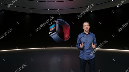 Stock Photo of Handout video still image released by Apple showing Apple Chief Operating Officer Jeff Williams unveiling the Apple Watch Series 6 during an Apple Event at Apple Park. Apple is expected to introduce several new products.