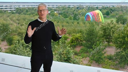 Handout video still image released by Apple showing Apple CEO Tim Cook speaking during an Apple Event at Apple Park. Apple is expected to introduce several new products.