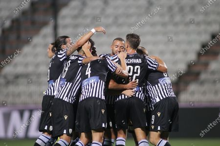PAOK's players celebrate the 2-0 scored by Andrija Zivkovic (L) during the UEFA Champions League 3nd qualifying round match between PAOK FC and Benfica in Thessaloniki, Greece, 15 August 2020.