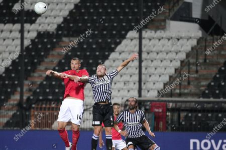 Benficas Seferovic(L) in action against Paoks Sverrir Ingi Ingason (R) during the UEFA Champions League 3nd qualifying round match between PAOK FC and Benfica in Thessaloniki, Greece, 15 August 2020.