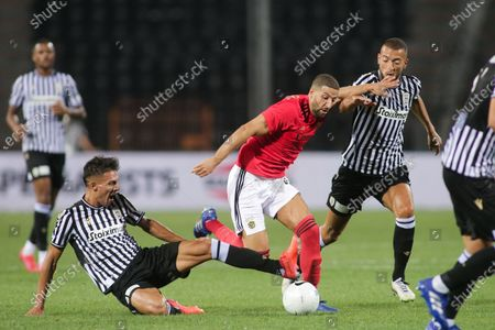 Stock Picture of Benficas Adel Taarabt (R) in action against Paoks Dimitris Giannoulis (L) during the UEFA Champions League 3nd qualifying round match between PAOK FC and Benfica in Thessaloniki, Greece, 15 August 2020.