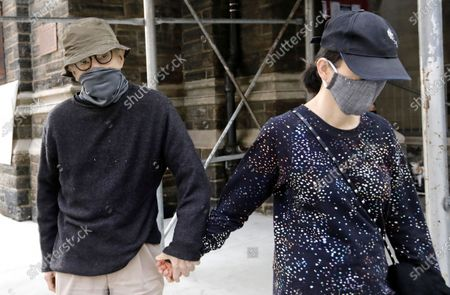 Woody Allen (L) with his wife Soon Yi walk up Park Avenue in New York, New York, USA, 15 September 2020.