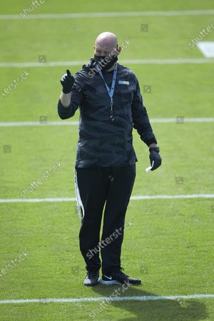 Carolina Panthers strength and conditioning coach Jeremy Scott prior to an NFL football game against the Las Vegas Raiders, in Charlotte, N.C