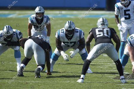 Carolina Panthers guard John Miller (67) lines up on offense during the second half an NFL football game against the Las Vegas Raiders, in Charlotte, N.C