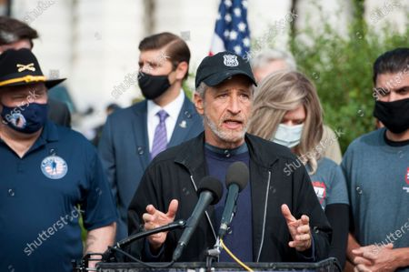 Comedian Jon Stewart, offers remarks during a press conference regarding legislation to assist veterans exposed to burn pits, outside the US Capitol in Washington, DC., Tuesday, September 15, 2020. Standing at left is US Senator Kirsten Gillibrand (Democrat of New York).