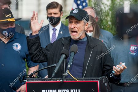 Stock Picture of Comedian Jon Stewart, offers remarks during a press conference regarding legislation to assist veterans exposed to burn pits, outside the US Capitol in Washington, DC., Tuesday, September 15, 2020.