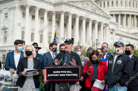 Comedian Jon Stewart, offers remarks during a press conference regarding legislation to assist veterans exposed to burn pits, outside the US Capitol in Washington, DC., Tuesday, September 15, 2020.