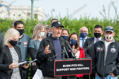 Comedian Jon Stewart, offers remarks during a press conference regarding legislation to assist veterans exposed to burn pits, outside the US Capitol in Washington, DC., Tuesday, September 15, 2020. Credit: Rod Lamkey / CNP