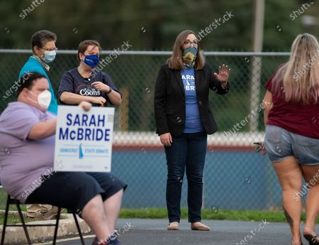 Transgender activist Sarah McBride, who hopes to win a seat in the Delaware Senate, campaigns at the Claymont Boys & Girls Club in Claymont, Del