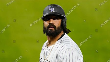 Colorado Rockies' Matt Kemp looks on during the eighth inning of a baseball game against the Oakland Athletics, in Denver