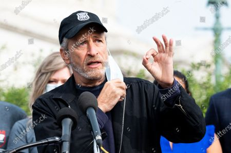 Jon Stewart at the U.S. Capitol advocating for legislation to assist veterans exposed to burn pits.