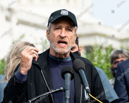 Stock Image of Jon Stewart at the U.S. Capitol advocating for legislation to assist veterans exposed to burn pits.