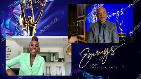 "Stock Photo of Issa Rae presents the Emmy for Outstanding Music Direction to Rickey Minor for ""The Kennedy Center Honors"" during the second night of the 2020 Creative Arts Emmy Awards, streamed live on Emmys.com on"