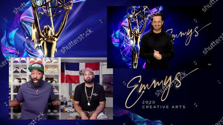 """Stock Image of Desus & Mero present the Emmy for Outstanding Contemporary Hairstyling For A Variety, Nonfiction Or Reality Program to Curtis Forman for """"RuPaul's Drag Race"""" during the second night of the 2020 Creative Arts Emmy Awards, streamed live on Emmys.com on"""