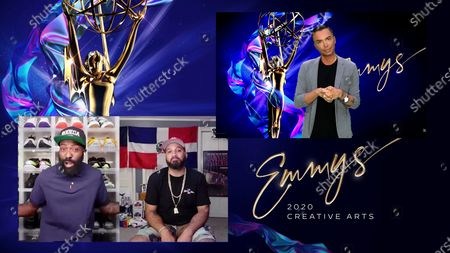 """Stock Picture of Desus & Mero present the Emmy for Outstanding Contemporary Makeup For A Variety, Nonfiction Or Reality Program (Non-Prosthetic) to David Petruschin for """"RuPaul's Drag Race"""" for """"I'm That Bitch"""" during the second night of the 2020 Creative Arts Emmy Awards, streamed live on Emmys.com on"""