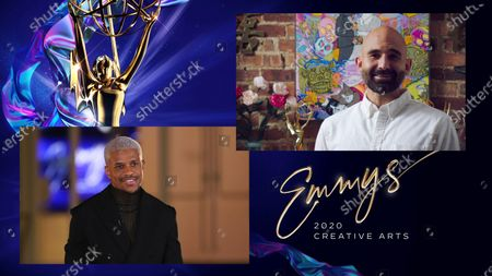 """Jeremy Pope presents the Emmy for Outstanding Picture Editing For Variety Programming to Ryan Barger for """"Last Week Tonight With John Oliver"""" for """"Eat Shit Bob! (segment)"""" during the second night of the 2020 Creative Arts Emmy Awards, streamed live on Emmys.com on"""