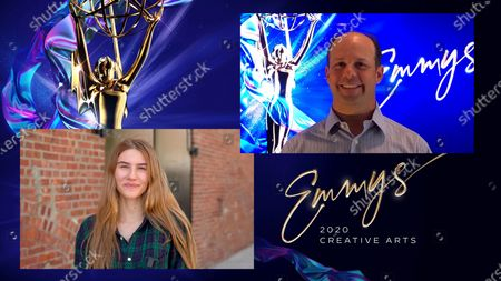 """Sofia Hublitz presents the Emmy for Outstanding Technical Direction, Camerawork, Video Control For A Series to Dave Saretsky for """"Last Week Tonight With John Oliver"""" for """"Episode 629"""" during the second night of the 2020 Creative Arts Emmy Awards, streamed live on Emmys.com on"""