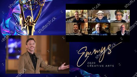"""Chris Hardwick presents the Emmy for Outstanding Variety Special (Live) to Executive Producers Brent Miller, from top left, Norman Lear, Kerry Washington, and from bottom left, Justin Theroux, James Burrows and Eric Cook for """"Live In Front Of A Studio Audience: """"All In The Family"""" And """"Good Times"""""""" during the second night of the 2020 Creative Arts Emmy Awards, streamed live on Emmys.com on"""