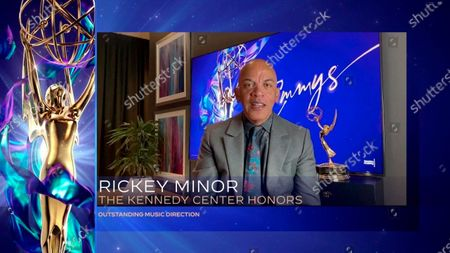 "Rickey Minor accepts the Emmy for Outstanding Music Direction for ""The Kennedy Center Honors"" during the second night of the 2020 Creative Arts Emmy Awards, streamed live on Emmys.com on"
