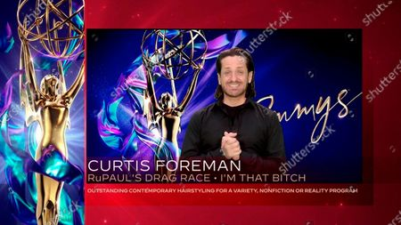 """Curtis Forman accepts the Emmy for Outstanding Contemporary Hairstyling For A Variety, Nonfiction Or Reality Program for """"RuPaul's Drag Race"""" during the second night of the 2020 Creative Arts Emmy Awards, streamed live on Emmys.com on"""