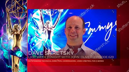 """Dave Saretsky accepts the Emmy for Outstanding Technical Direction, Camerawork, Video Control For A Series for """"Last Week Tonight With John Oliver"""" for Episode 629 during the second night of the 2020 Creative Arts Emmy Awards, streamed live on Emmys.com on"""