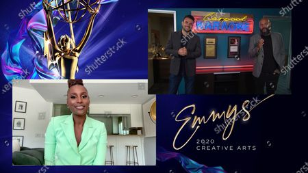 "Stock Picture of Issa Rae presents the Emmy for Outstanding Short Form Variety Series to Ben Winston and Eric Pankowski for ""Carpool Karaoke: The Series"" during the second night of the 2020 Creative Arts Emmy Awards, streamed live on Emmys.com on"