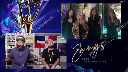 """Stock Photo of Desus & Mero present the Emmy for Outstanding Costumes For A Variety, Nonfiction Or Reality Program to Candice Rainwater, Marina Toybina, Grainne O'Sullivan and Gabrielle Letamendi for """"The Masked Singer"""" for """"The Season Kick-Off Mask-Off: Group A"""" during the second night of the 2020 Creative Arts Emmy Awards, streamed live on Emmys.com on"""