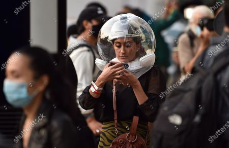Stock Photo of Attendee Michelle Madonna at NYFW 2020 street fashion outside Rebecca Minkoff
