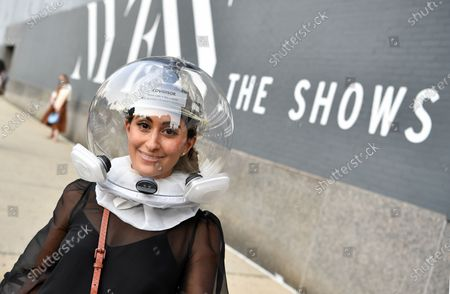 Stock Picture of Attendee Michelle Madonna at NYFW 2020 street fashion outside Rebecca Minkoff