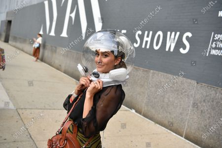 Stock Image of Attendee Michelle Madonna at NYFW 2020 street fashion outside Rebecca Minkoff