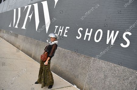 Attendee Michelle Madonna at NYFW 2020 street fashion outside Rebecca Minkoff