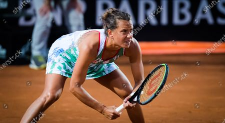 Barbora Strycova of the Czech Republic in action during her second-round match at the 2020 Internazionali BNL d'Italia WTA Premier 5 tennis tournament