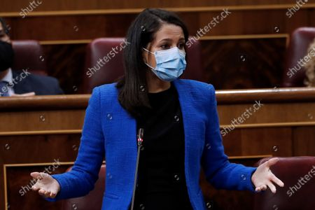 Citizens Party's leader Ines Arrimadas speaks during a Government control session at the Lower Chamber of the Spanish Parliament in Madrid, Spain, 16 September 2020.
