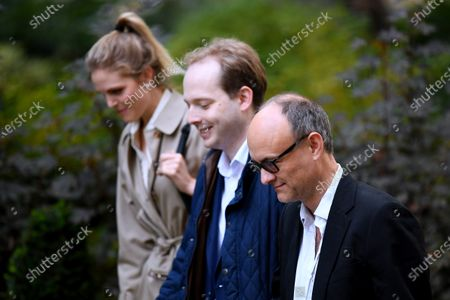 Stock Picture of Government special advisors Cleo Watson, Oliver Lewis and Dominic Cummings arrive at No.10 Downing Street.