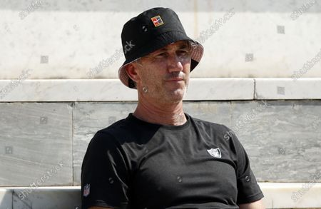 Simona Halep's coach, Darren Cahill, watches the second round match between Simona Halep of Romania and Jasmine Paolini of Italy at the Italian Open in Rome, Italy, 16 September 2020.
