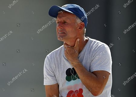 Anett Kontaveit's coach Nigel Sears, father-in-law of British player Andy Murray, watches games at the Italian Open in Rome, Italy, 16 September 2020.