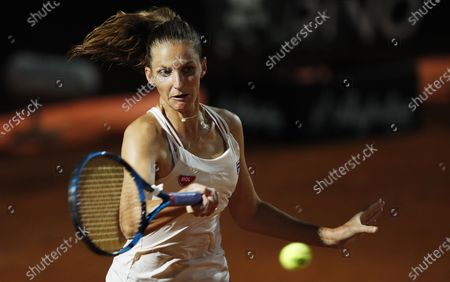 Karolina Pliskova of the Czech Republic hits a forehand in her first round match against Barbora Strycova of the Czech Republic at the Italian Open in Rome, Italy, 16 September 2020.