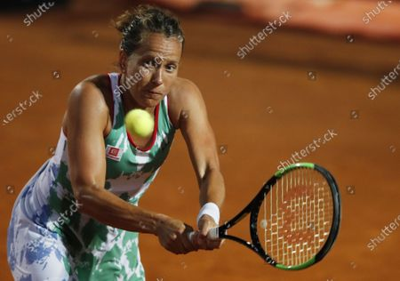 Barbora Strycova of the Czech Republic hits a backhand in her second round match against Karolina Pliskova of the Czech Republic at the Italian Open in Rome, Italy, 16 September 2020.