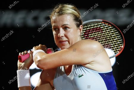 Anastasia Pavlyuchenkova of Russia hits a backhand in her second round match against Elina Svitolina of Ukraine at the Italian Open in Rome, Italy, 16 September 2020.