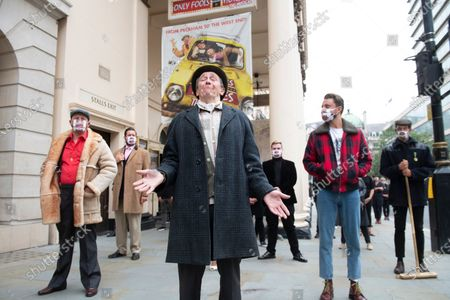 Paul Whitehouse, with fellow members of the cast and crew of the Only Fools and Horses musical, stage a protest to draw attention to the plight of theatre industry workers out side the Theatre Royal, Haymarket.